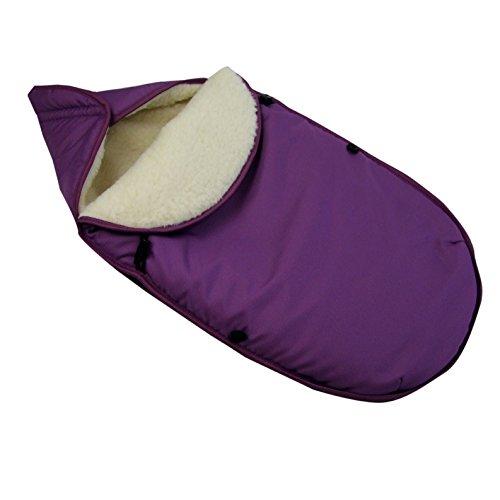 BAMBINIWELT universaler Winterfußsack für Babyschale (z.B: Maxi-Cosi) oder Kinderwagen, aus Wolle UNI (Lila)