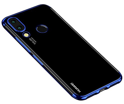 BLUGUL Coque Honor Play, Electroplating Coloring, Ultra Mince TPU Silicone, Crystal Clear Transparent Housses pour Huawei Honor Play Bleu