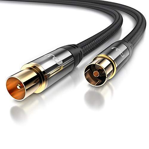 CSL – Cable de Antena HDTV con Trenzado – Conector coaxial a Conector coaxial – 135 dB 75 Ohm – DVB-T y DVB-T2 DVB-C DVB-S DVB-S2 Radio FM Dab