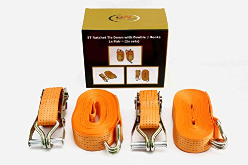 Spanbanden van DiversityWrap, 12 m x 50 mm, ijzeren handvat en dubbele J-haken, 5000 kg, riem, 2 stuks