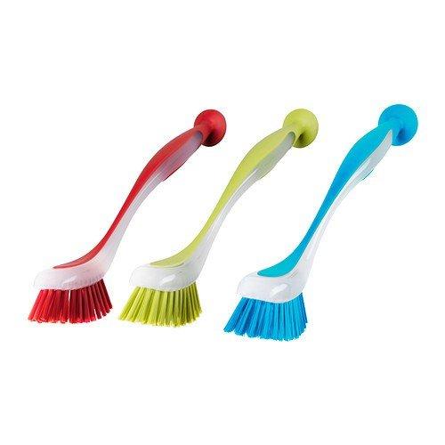 IKEA Juego de 3 cepillos de Lavado Plastis con Ventosa – Apto para lavavajillas – en Rojo + Azul + Amarillo