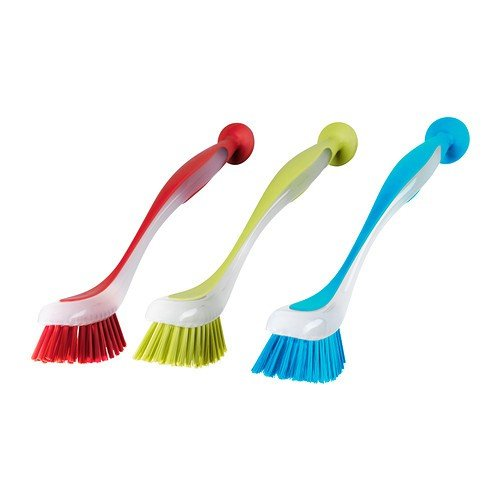 PRL Plastis Set of 3 Washing-Up Brushes with Suction Base – Dishwasher Safe, Multi, 5x21x5x0.1