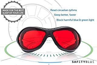 Sleep Savior ® Ultra - Red Night Glasses – Blocks Out More Disruptive Light Than Blue Blockers - for Men and Women - Increase Melatonin Naturally and Help You Sleep Better – Perfect for Jet Lag