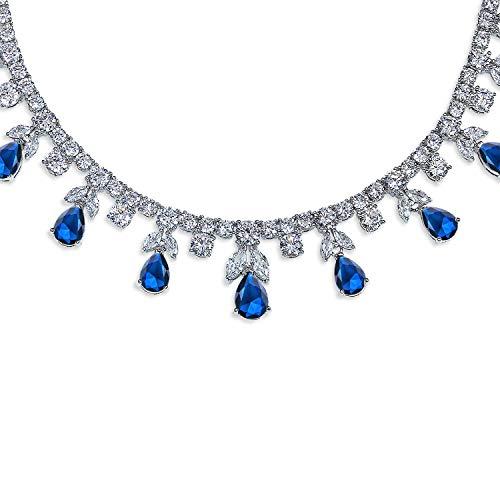 Bling Jewelry AAA-CZ Träne Birnenförmig Simulated Blau Saphir Collier Statement-Halskette Kragen Für Damen Für Versilbert