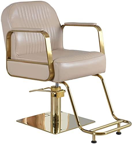 Silla de peluquería, silla de peluquería japonesa de alta gama Silla de afeitar Barbería Levantamiento y taburete giratorio, respaldo ajustable