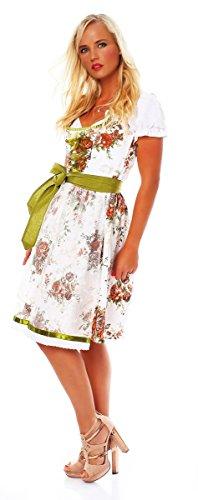 Fashion4Young 10595 Damen Dirndl 3 TLG.Trachtenkleid Kleid Mini Bluse Schürze Trachten Oktoberfest (38, Grün Weiß)