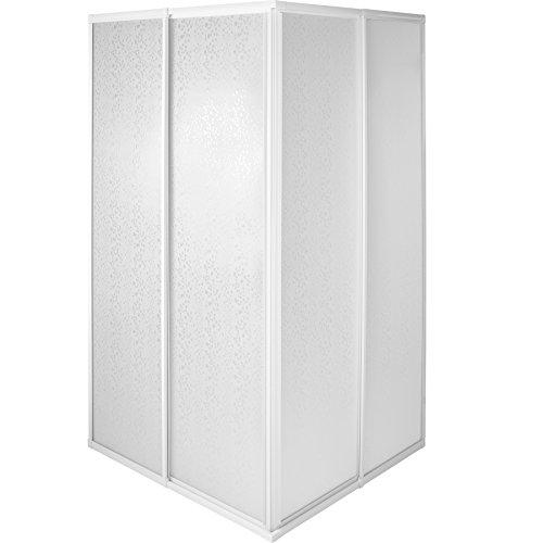 tectake 800522 Mampara de Ducha para Cabina | Marco de Aluminio Inoxidable | 2 Puertas Correderas de Plástico - varias Tamaños (80x90x185cm | No. 402754)