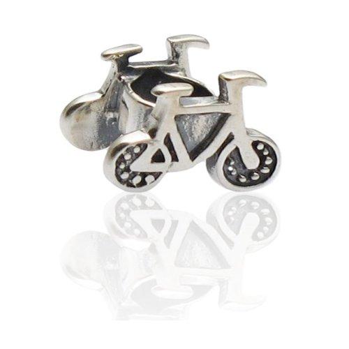 Charmies Perle bicicletta in argento anticato, compatibile con Pandora, Amore Baci Chamilia... &, in argento 925