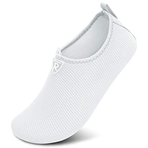 Racqua Men & Women Water Shoes Barefoot Beach Swim Shoes Quick-Dry Aqua Yoga Socks for Pool,Travel, Kayaking, River White40/41