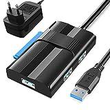 USB 3.0 zu Sata und IDE Adapter, Meofia UASP USB Festplattenadapter Universal USB 3.0 SATA Kabel Festplattenadapterkonverter für 2,5'/3.5' SATA I II III Festplatten Laufwerke HDD/SSD mit EU Netzteil