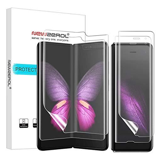 NEWZEROL [2 Paar Ersatz für Samsung Galaxy Fold 5G Bildschirmschutzfolie[Vorder & Rückseite] Fingerabdruckerkennung auf dem Display hohe Qualität Anti-Bubble TPU