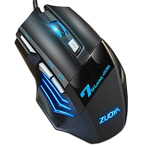 ZUOYA Professional Gaming Mouse Wired,4 DPI Adjustable, LED Backlight,USB Optical Mice for Laptop PC Computer Games & Work (MMR3 PRO-Black)