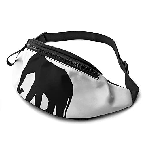 Lindo elefante cintura bolsa con agujero para auriculares, paquete de riñonera para hombres y mujeres con correa ajustable para exteriores