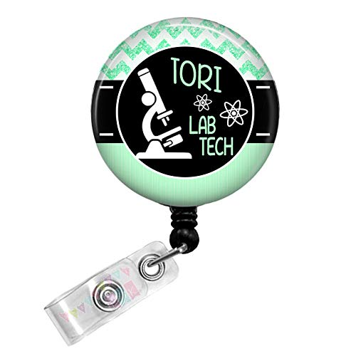 Personalized - Lab Tech with Microscope - Mint Green - Glitter Chevron - Button Badge Reel - BR0035
