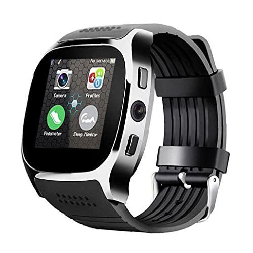 Tuimiyisou Inteligente Reloj de Pulsera Bluetooth Inteligente con Soportes de cámara SIM TF podómetro Deportes de Llamadas de Dibujos Animados, para el teléfono móvil Negro