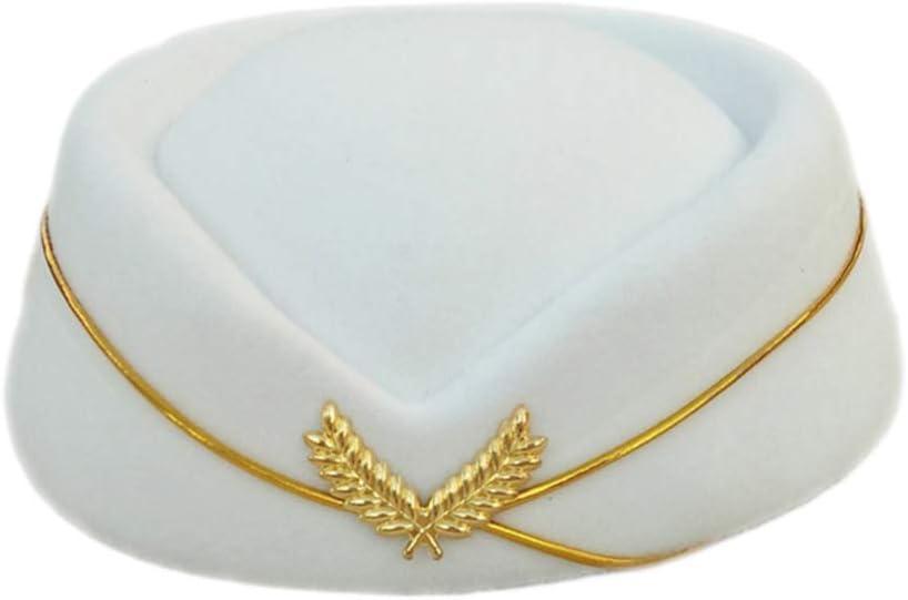 NUOBESTY Bow White Beret Hat Cap Vintage British Stewardess Hat Wool Flight Attendant Hat Costume Air Hostess Cap