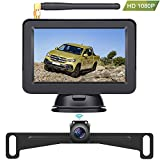 LeeKooLuu F13 HD 1080P Digital Wireless Backup Camera High-Speed Observation System with Super Night Vision, Hitch Rear View License Plate Camera Front View Camera 5'' TFT Monitor for Trucks,Vans