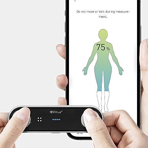 FITRUS PLUS – Portable Body Composition Analyzer, Thermometer, Bluetooth Connection, BMI, Body Fat, Muscle, Temperature, Heart Rate, Stress Level, Steps Tracker