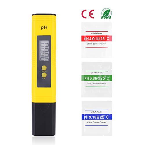 Ulikey Medidor PH Agua Preciso, Calidad del Agua Medidor de Prueba con Rango de Medición de pH de 0-14, para Acuario, Piscina de Agua Hidropónica, Laboratorio (PH Tester - A)