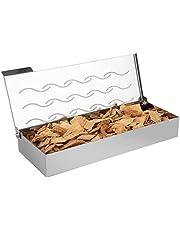 Onlyfire FPA-5115 Caja Ahumadora de Acero Inoxidable, Fumador de Madera para barbacoas de Barbacoa de Universal con Tapa con bisagras para Parrilla de Gas y Parrilla de carbón