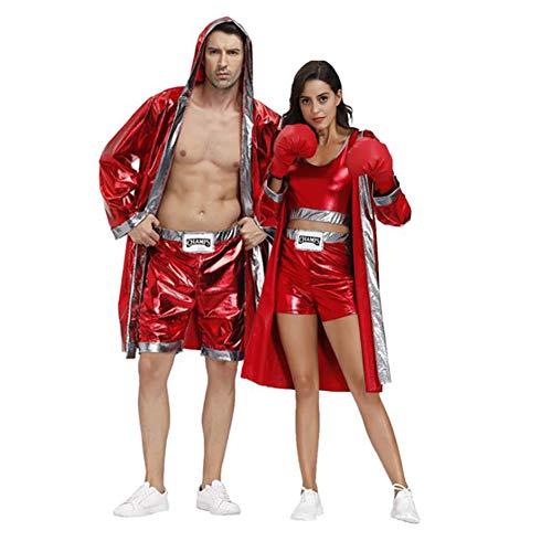 LYGID Parejas Disfraces De Halloween 2020 Traje De Cosplay De Grupo Chicas Sexy Chicos Boxeo Boxeador Accesorios Capa Pantalones Cortos