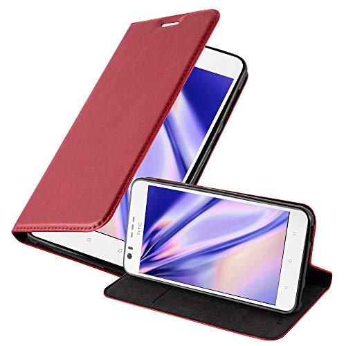 Cadorabo Hülle für HTC Desire 10 Lifestyle/Desire 825 - Hülle in Apfel ROT – Handyhülle mit Magnetverschluss, Standfunktion & Kartenfach - Case Cover Schutzhülle Etui Tasche Book Klapp Style