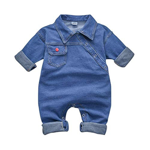 T TALENTBABY Kleinkind Neugeborenes Jungen Girs Denim Strampler Jumpsuit Infant Unisex Cowboy Outfit Kleidung Onesies Jeans Strampler Bodysuit, Blau, 0-3 Monate