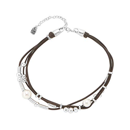 Uno de 50 Collar 4-Alambre de la aleacin de Plata con Cuero y Perlas COL1393BPLMAROU