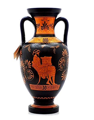greco antico vaso rosso figura anfora insegnante di musica & Athena 32cm