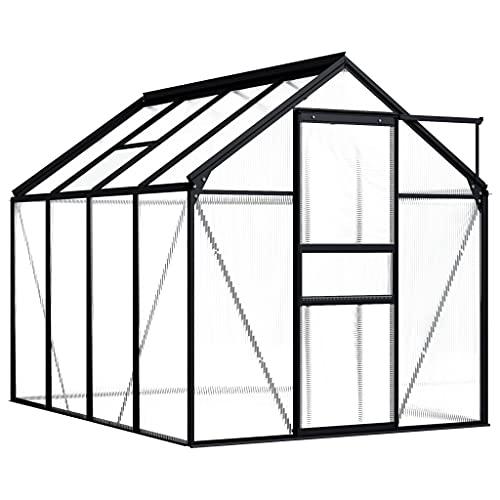 vidaXL Invernadero Caseta Jardín Terraza Plantas Semilla Cultivo Huerto Verduras Cubierta Casero Aire Libre de Aluminio Gris Antracita 4,75 m²