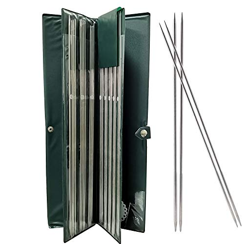 Nsiwem Agujas de Tejer 44 piezas Agujas de Punto Aguja de Tejer Rectas de Acero Inoxidable con Punta Doble 36 cm Acero Inoxidable Kit de Agujas 6-16 mm Con Bolsa de Agujas para Suéter Proyecto