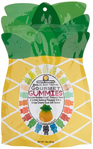 Happy Yummies Worlds Best Tasting Gourmet Gummy Candy Pineapple Bag 14oz