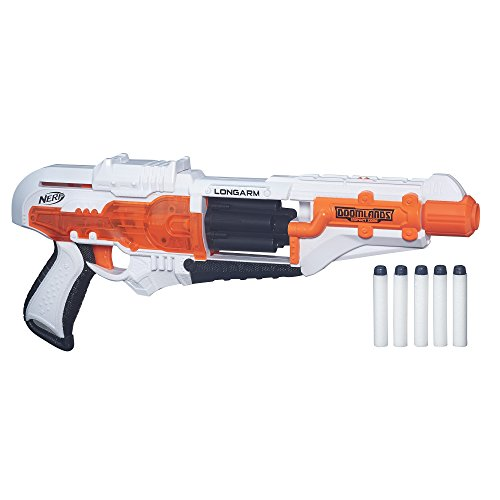 Longarm Nerf Doomlands Toy Blaster with Flip-Open Drum and 5 Official Nerf Doomlands Elite Darts for Kids, Teens, and Adults