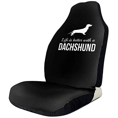 Preisvergleich Produktbild Seat Covers Das Leben Ist Besser Mit Dackel Black Fashion 2Pc Autositzbezüge Fahrzeugzubehör Vordersitze Für Auto Limousine Van Jeep SUV Truck