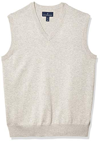 Amazon Brand - Buttoned Down Men's 100% Supima Cotton Sweater Vest, Light Grey, Medium