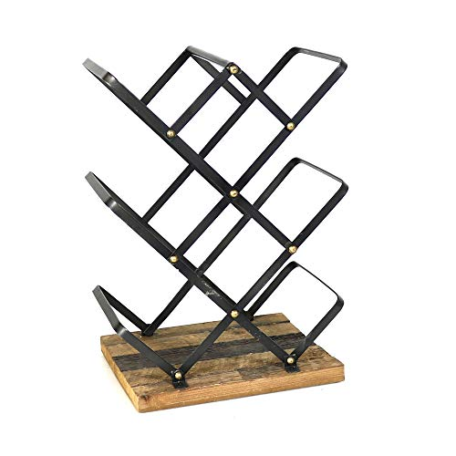 Benjara Industrial Style Criss Cross Wine Rack with Wooden Base Botellero de Estilo Madera, Marrón y Negro