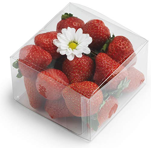 """Clear Plastic Boxes: 50-Pack Transparent Pastry Containers Set   by Cuisiner   4X4X2.5"""" Treat, Cookie, Cupcake, Candy Wedding/Birthday Party Package Boxes"""