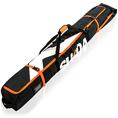 Premium Padded Ski Bag for Air Travel - Single Ski Carry Bags for Cross Country, Downhill, Ski Clothes, Snow Gear, Poles and Accessories for Ski Carrier Travel Luggage Case - for Men and Women