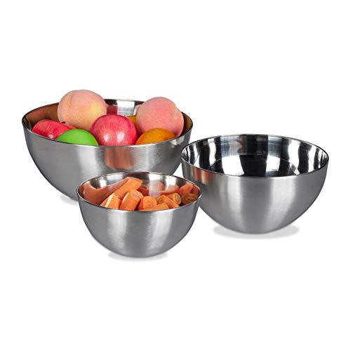 Relaxdays Rührschüssel Set, 3-teilig, spülmaschinenfest, Salatschüssel Edelstahl, verschiedene Größen, stapelbar, silber