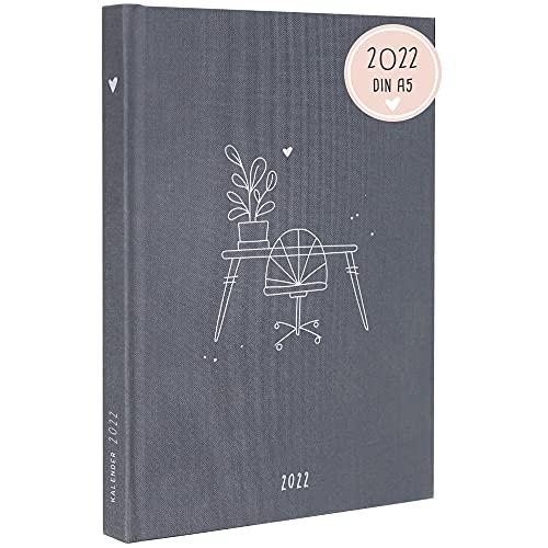 """Odernichtoderdoch® Kalender 2022 """"Organisationstalent\"""" - Hardcover Terminkalender in Grau, 14,8 x 21 cm (A5)"""