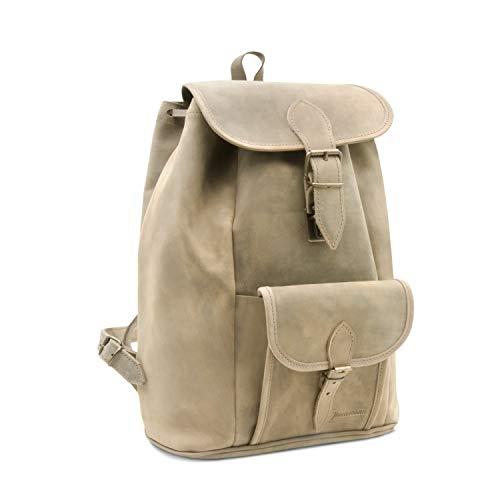 Lederrucksack, Reisetasche Rio de Janeiro in antik braun inkl. Lederpflege - Made in...
