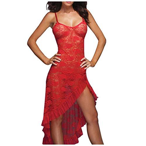unbrand ❀KWJ Frauen Lange Lingerie Kleid sinnliche Damen Nachtwäsche Spitze Nachthemd Babydoll Nachtkleid große Größen Frauen Wäsche mit String