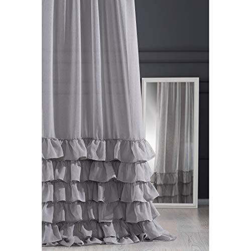 Eurofirany - Cortina Lisa de Acero Gris Transparente con Fruncido, 140 x 270 cm, Elegante, Glamour, Dormitorio, salón, salón, salón, 140 x 250 cm
