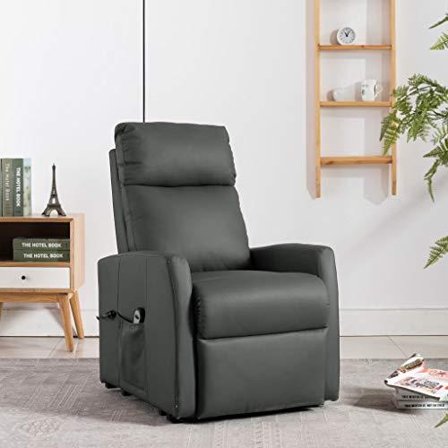 FAMIROSA Elektrisk reclinerfåtölj med uppresningshjälp grå konstläder (47,85kg)