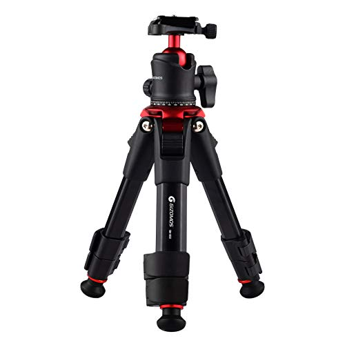 GIZOMOS GM-BS2 18.1' Portable Desktop Mini Tripod for DSLR, 360 Degree Ball Head Tripod for Travel, Load up to 5kg/11lb, with 1/4' Quick Release Plate and Carry Bag