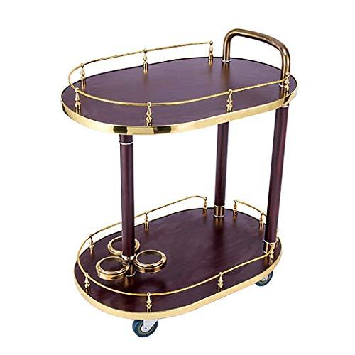 GENRAL Carro de servicio de 2 niveles para vino, carrito de vino, carrito de madera maciza, soporte de metal portátil para cocina, baño, comedor, muebles, 3 estilos