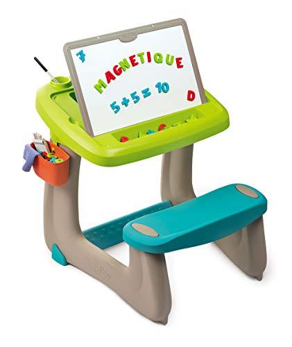 Smoby 420103 - Escritorio para niños (Doble Cara, magnético, Pizarra de Tiza y 80 Accesorios)