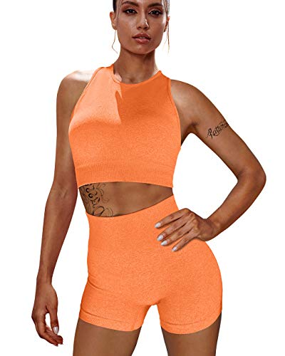 OYS Workout Sets for Women 2 Piece Outfits Seamless High Waisted Yoga Shorts Running Sports Bra Gym Clothes Orange