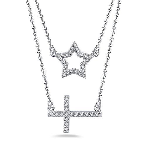 JO WISDOM Collar de Plata de ley 925 Mujer,Colgante con Cadena Luna Creciente Cruzar Doble Capa con 3A Circonia,Extensor de 40 cm + 43 cm + 5 cm
