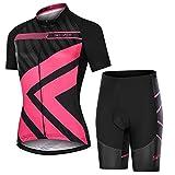 skysper completo ciclismo donna, set abbigliamento ciclismo traspirante maglia manica corta + pantaloni 3d imbottito completo bici per ciclista estate